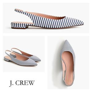 J. Crew striped pointed toe slingback flats 7 NEW